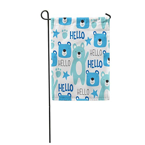 Tarolo Decoration Flag Blue Adorable Teddy Bear Pattern Colorful Animal Beautiful Beauty Boy Cartoon Thick Fabric Double Sided Home Garden Flag 12