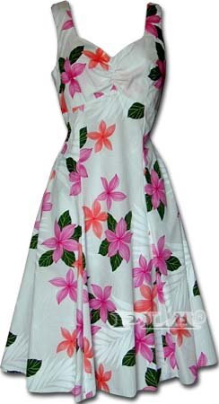 Collection Plumeria Hawaiian Dress - Womens Hawaiian Dress - Aloha Dress - Hawaiian Clothing - 100% Cotton Pink Medium - Aloha Dress