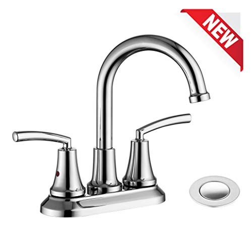 RKF Swivel Spout Two-handle Centerset bathroom faucet Lavatory faucet with pop-up drain with overflow,Chrome -
