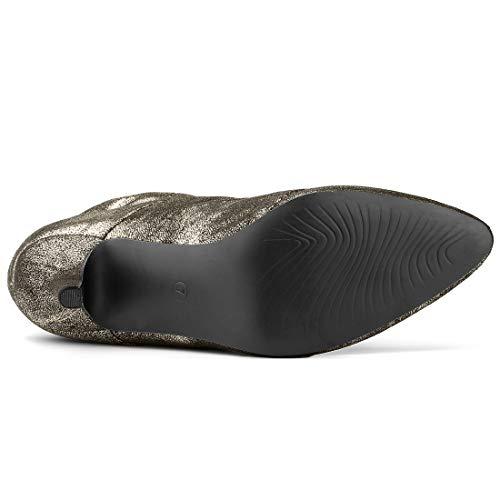 Stiletto Glitter Heel Zip Women's Allegra Slouchy Boots Ankle K Gold XnxI7nO
