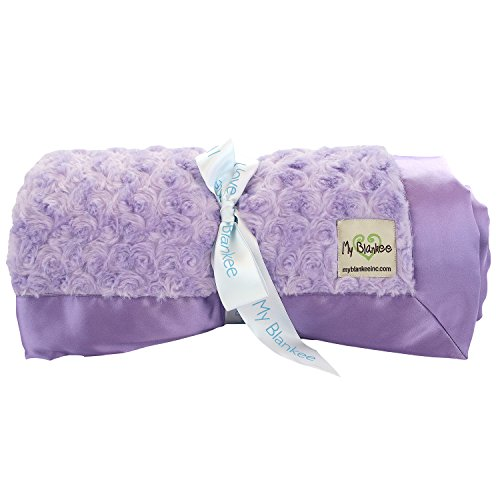My Blankee Snail Luxe Twin Blanket with Flat Satin Border, Lavender, 59'' X 85''
