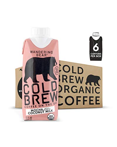 - Wandering Bear Organic Cold Brew Coffee On-the-Go 11 oz Carton, Mocha With Splash of Coconut Milk, No Sugar, Ready to Drink, Not a Concentrate (Pack of 6)