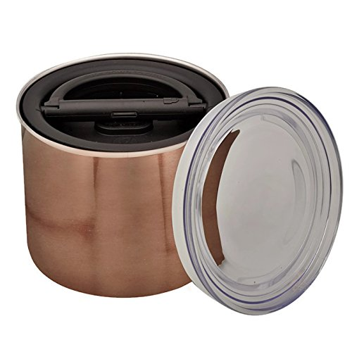 - Planetary Design Airscape Coffee Storage Canister (1/2 lb Dry Beans) - Patented Airtight Lid Pushes Air Out to Preserve Food Freshness - Stainless Steel Food Container - Mocha Brown