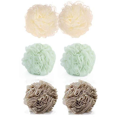 (Loofah Sponge Mesh Bath and Shower Sponge,Body Scrubber Ball Loofah-loofa-loufa-luffa-pouf-poof (3 Spa colors,6 packs))