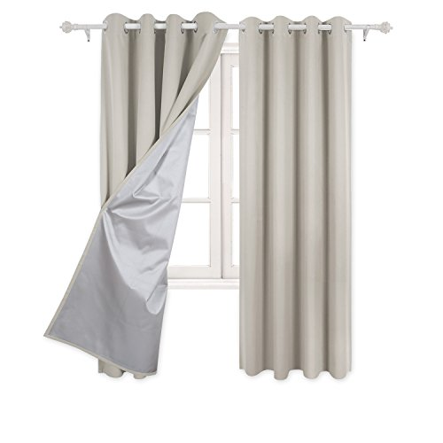 Deconovo Curtains Grommet Top Blackout Curtains Window Treatment Set with Silver Coating for Bedroom 52 By 72 Inch Light Beige 2 Panels