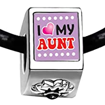 Silver Plated I Heart My Aunt Photo Black Crystal Flower Charm Beads European Bracelets Compatible