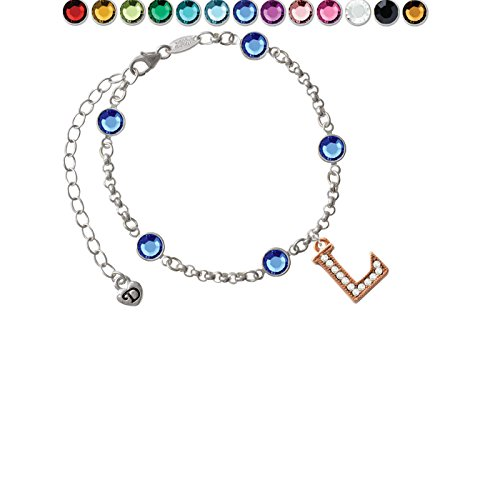 Team Name Script Bracelet - Crystal Rose Goldtone Initial - L - Custom Crystal Color Fiona Charm Bracelet