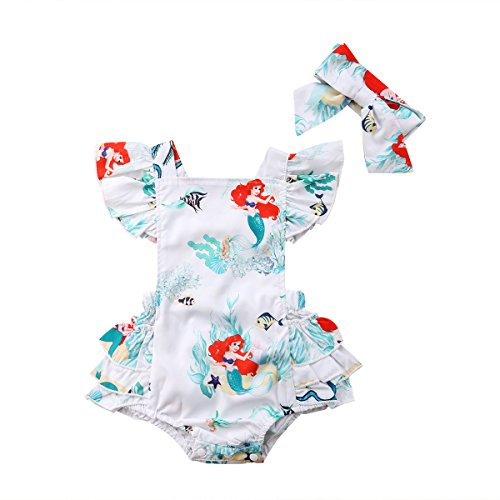 Baby Girls Rompers, Mermaid Sea World Pattern Flower Edge Bodysuit with Hairband Outfits Clothes (0-6M) White ()