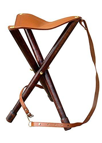LARP Dreibein-Hocker aus Holz und Leder Campinghocker Lagerlebel Mittelalter Größe M oder L (M)
