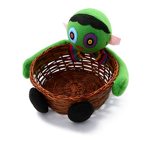 Fivtyily Creative Halloween Candy Basket Doll Decoration Bowl Multifunctional Storage for Biscuit Fruit (Green) ()