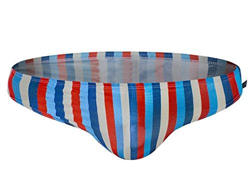 Men Swim Shorts Big Boys Nylon Striped Swimming Brief Swimsuit Swimwear Red Purple Grey Blue XL