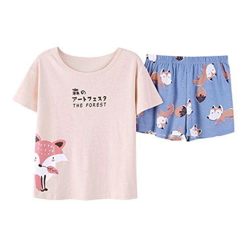 KINYBABY Big Girls Summer Pajama Set Cute Fox Printed Cotton Sleepwear Top&Shorts Pink Fox L by KINYBABY