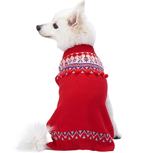 - Blueberry Pet 2018/2019 New 4 Patterns Icelandic Lopi Pullover Dog Sweater in Holiday Red, Back Length 8