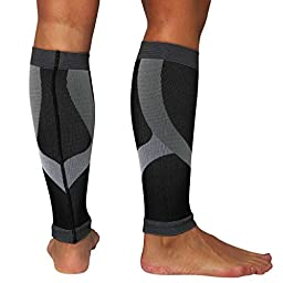 Ultimate Compression Leg Sleeves - Relieve Shin Splints, Calf Support (L/XL, Black)