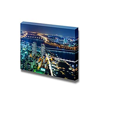 Canvas Prints Wall Art - Gleaming City Lights Under The Clear Night Sky | Modern Wall Decor/Home Decoration Stretched Gallery Canvas Wrap Giclee Print. Ready to Hang - 12