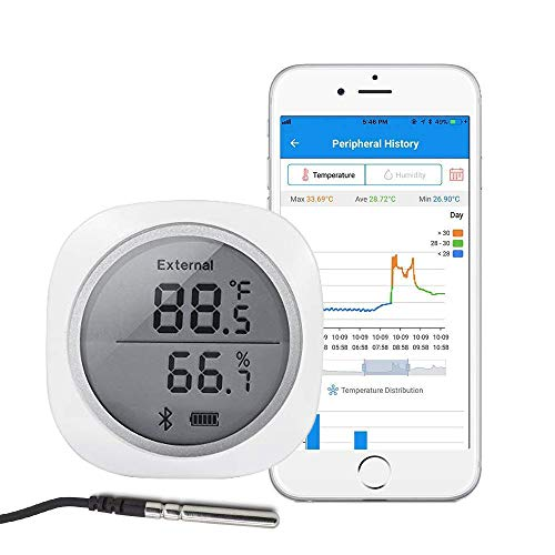 Inkbird Smart Sensor Data Logger Wireless Temp RH Monitor Device Android iPhone Temperature Humidity Recorder Thermometer Hygrometer IBS-TH1 Plus Cigar Humidor Basement Guitar Greenhouse