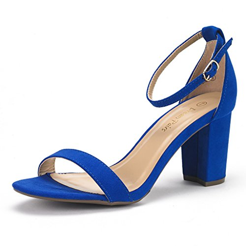 (DREAM PAIRS Women's Chunk Royal Blue Low Heel Pump Sandals - 11 M US)