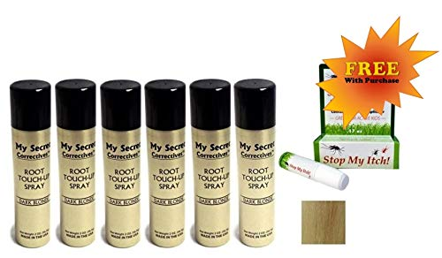 My Secret Correctives Root Touch-Up Natural Highlight Spray - 2oz each - 6 Cans - DARK BLONDE - PLUS FREE Stop My Itch! BONUS!