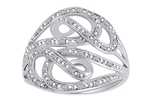 0.10 Cttw Round White Natural Diamond Swirl Cocktail Ring 10k Solid White Gold Ring Size-5.5 ()