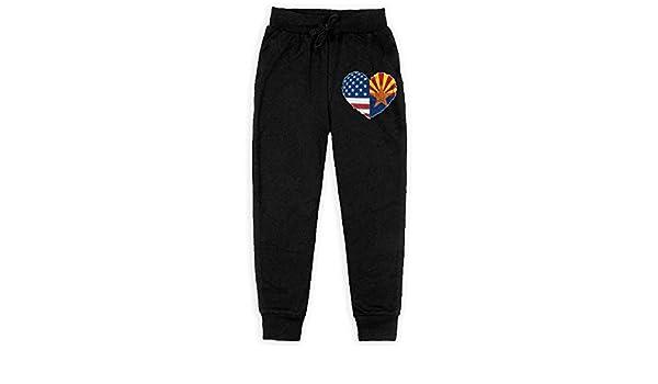 Arizona USA Flag Heart Soft//Cozy Sweatpants Teenager Warm Fleece Active Pants for Teen Boy