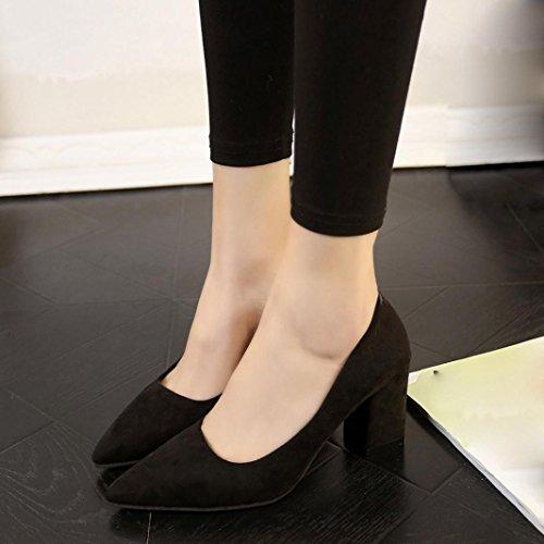 OverDose Damen Frauen Schuhe Waren High Heels Thick One Single Schuh Shallow Suede Arbeit Schuhe Business Schuhe