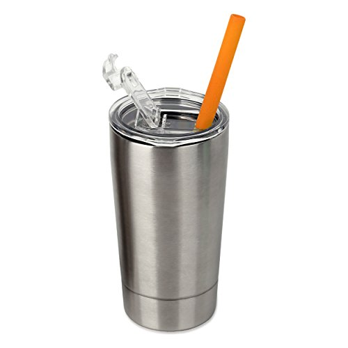 - Housavvy Kids Tumbler with Lid and Straw Double-Walled Stainless Steel 12 oz, Silver