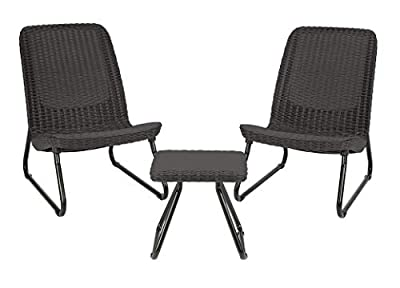 Keter Rio 3 Pc All Weather Outdoor Patio Garden Conversation Chair & Table Set Furniture, Grey (Certified Refurbished)