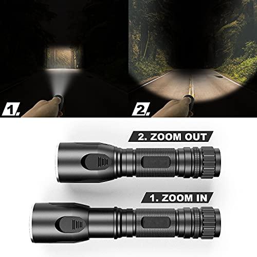 Taschenlampe Taktische Taschenlampe Wiederaufladbare Taschenlampe 1200 Lumen 2200 mAh Mini-Taschenlampe mit 5 Modi Wasserdicht für Camping Outdoor Dog Walking Night Running