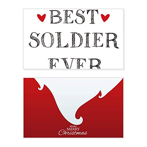 Best soldier ever Quote Profession Holiday Merry Christmas Card Xmas Vintage Message (Merry Christmas For Soldiers Quotes)