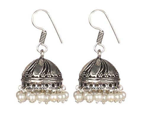 (Sansar India White Beads Silver Plated Jhumki Jhumka Earrings for Girls and Women )