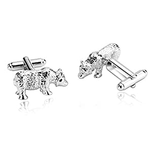 Alimab Jewelry Men's Cuff Links Fancy Animal Walk Bear Modeling Silver - Stainless Steel Men Cufflinks