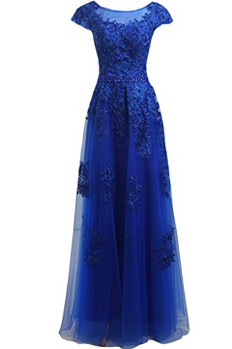 Ivydressing Elegant Applique Beaded Scoop Neck Cap Straps A-line Evening Dress-14-Royal Blue - Beaded Strap Charmeuse Dress