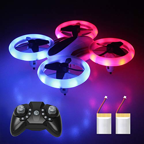 Mini Drone for Kids and Adults, RC Quadcopter LED UFO 4 Channel 2.4 Ghz 6-Axis Gyro Helicopter with Altitude Hold, GPS Return Home, Long Flight Time Beginner Drone, Easy Flying -