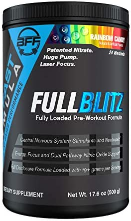 FULLBLITZ by BFF Build Fast Formula Fully Loaded Pre-Workout Energy Booster Huge Dual Pathway Nitric Oxide Boosting Muscle Pumps, Laser Focus Nootropic Blend 24 Servings Rainbow Candy