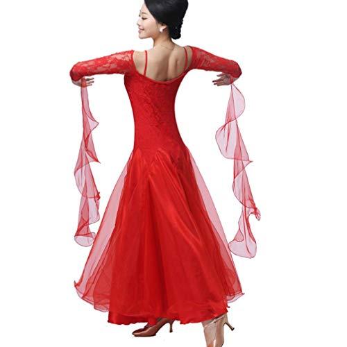 Tango Pratica Nazionale Valzer Cuciture Donna ballo ballo Moderno Swing Standard Abito da Vestito in da red Tulle Pizzo per Gonna wapqxnOn4