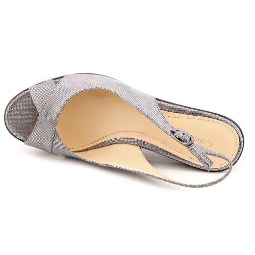Calvin Klein Women's Shoes Open Toe SlingbacK Wedges Metallic Gray 7.5