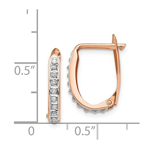 Mia Diamonds 14K Rose Gold .01cttw Rose Gold Diamond Fascination Oval Leverback Hinged Hoop Earrings 17mm x 11mm