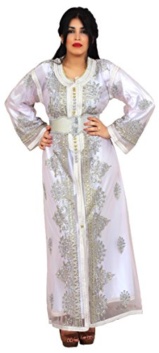 50771996c6e813 Moroccan Two Layers Caftan Women Handmade Embroidery Small To Large White  Complimentary Belt