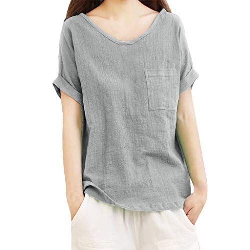 Aniywn Women Loose Cotton Linen Pocket Short Sleeve Pullover Tee Ladies Plus Size Tunic Henley Tops Gray