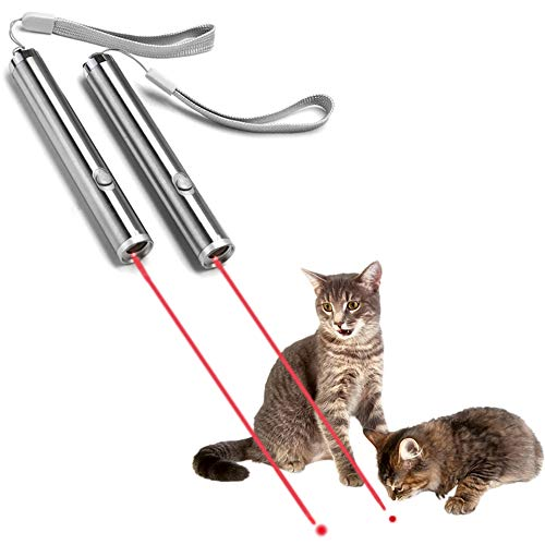 YSAGi 2 Piece Funny Pet Cat Catch Interactive Light Toy, 2 in 1 Chaser Toy with Laser Dot and Flashlight to Scratching Training Tool for Cat or Dog