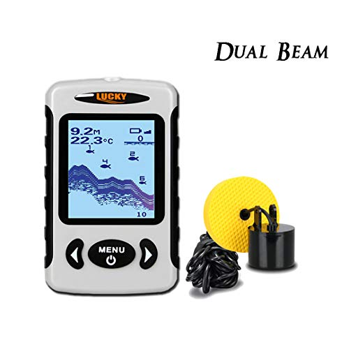Beam Dual Fishfinder (Lucky Portable Fish Finder, Depth Finder with Adjustable Dual Beams(60°and 20°) 100M/328FT Detecting Range, Fishfinder Fishes with Alarm Sensor Transducer for Ice Fishing, Boat Fishing, Sea Fishing.)