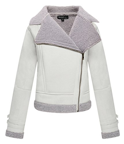 Wantdo Women's Lapel Faux Shearling Moto Jacket, Beige, X-Large