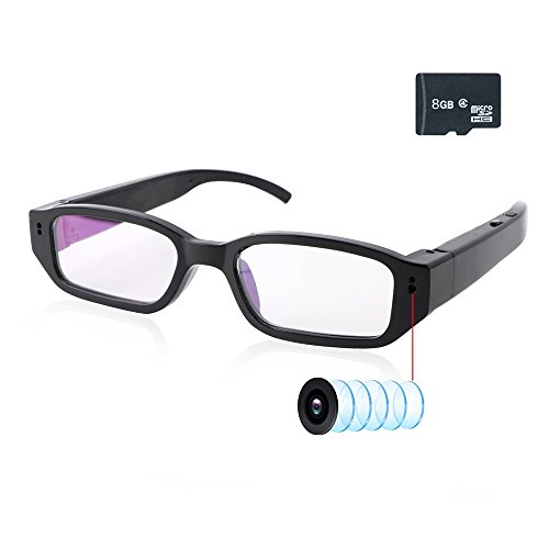 Secure Digital Card Camera Battery - Upgrad Video Camera Eyeglasses+ 8G SD Card - Small Surveillance Camera USB Charger FHD 1080P - Video Loop Recording - Built-in Battery with DVR Video Recorder - Mini Digital Camera As a PC Cam