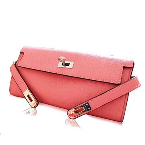 Palace Kelly Style Genuine Leather Pink Small Women Clutch Pouch Wallet Purse Handbag