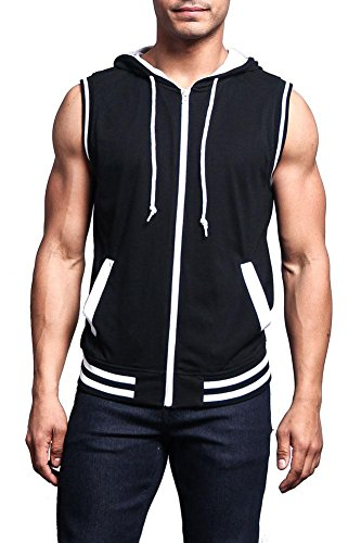 (Victorious Lightweight Athletic Casual Sleeveless Contrast Hoodie TH890 - Black/White - 5X-Large - HH1B)