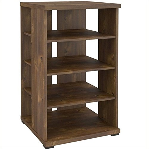 Pemberly Row 32'' Tall 4 Shelf Audio Video Media Tower Stand, Truffle Finish by Pemberly Row