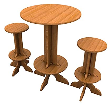 Bamboo Bar Set (1 High Top Table and 2 Stools), Palladian Style Furniture