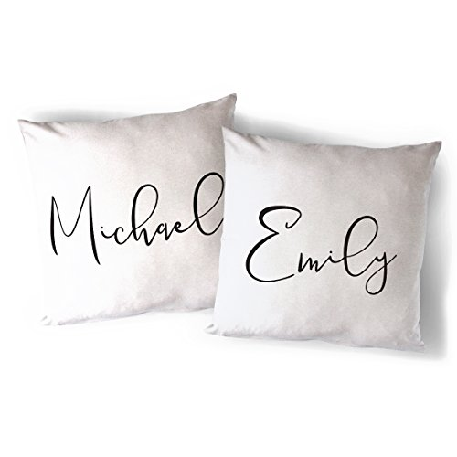 (The Cotton & Canvas Co. Personalized Couple Names Home Decor Pillow Cover, Pillowcase, Cushion Cover and Decorative Throw Pillow Case, 2-Pack (Natural Color, Not White))