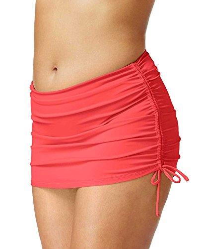 - Island Escape Women's Ruched Swim Skirt, Coral, 16