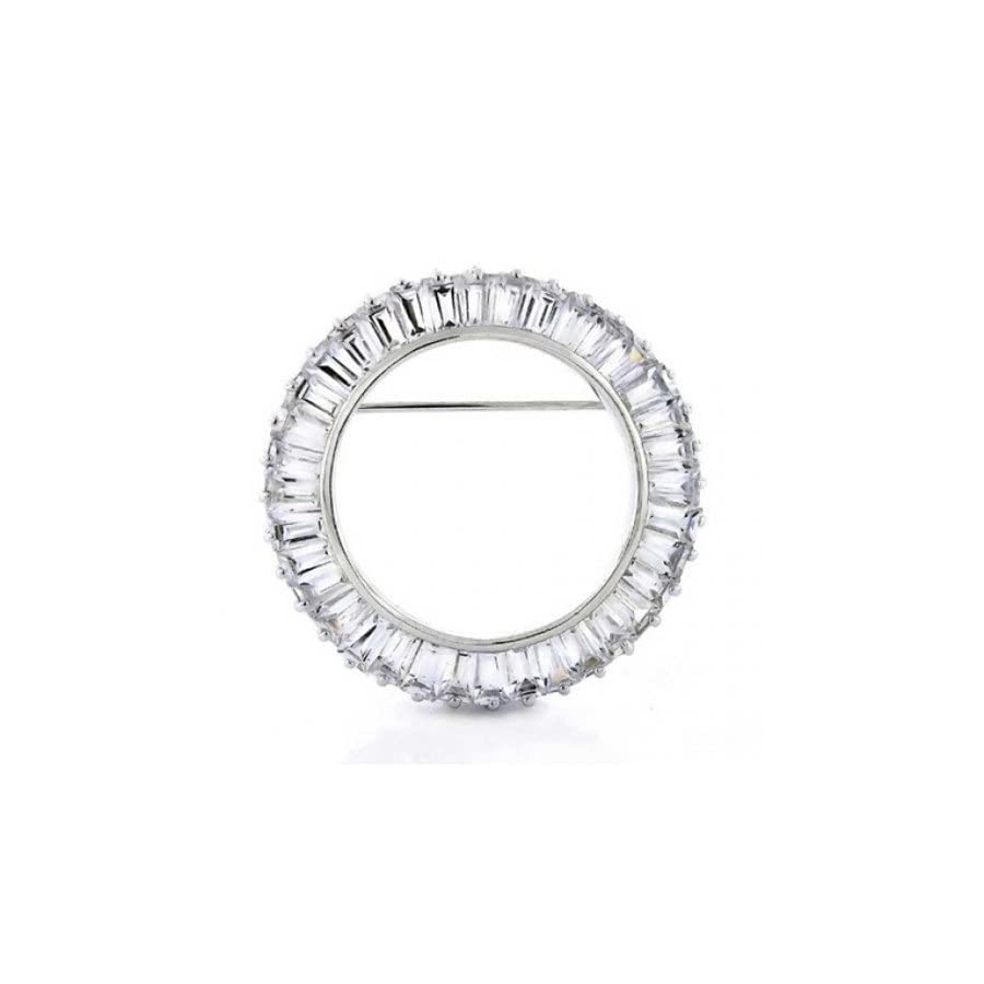 Eternity Round 5.76 CTW Cubic Zirconia Baguette Cut Circle of Life Scarf Pin Brooch Rhodium Plated Brass